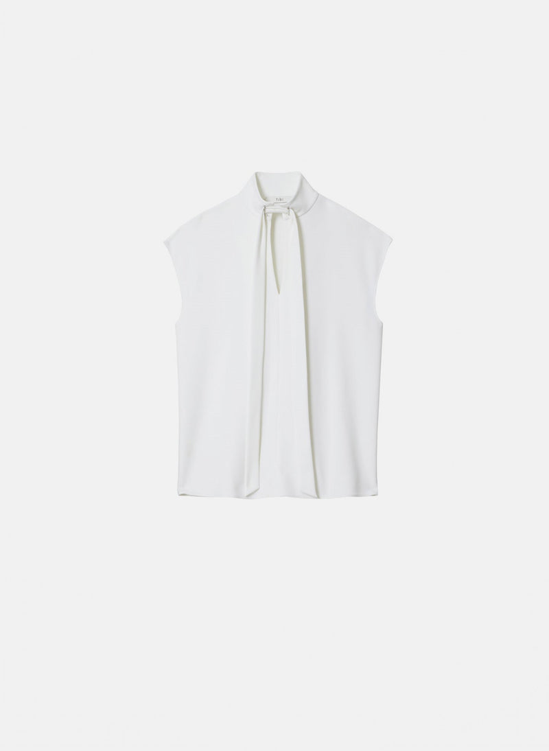 Structured Crepe Sleeveless Tie Neck Top White-6
