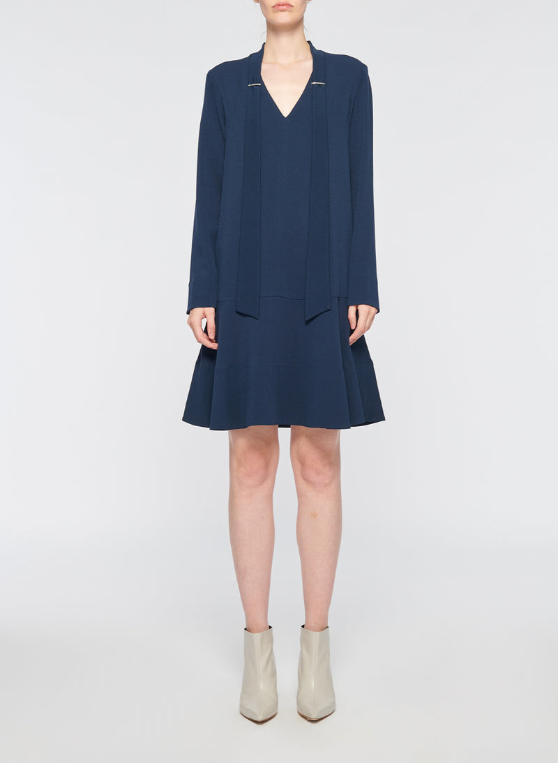 Savanna Crepe Tie Neck Dress Navy-1