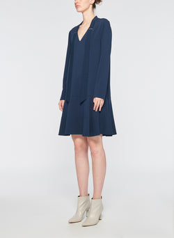 Savanna Crepe Tie Neck Dress Navy-2
