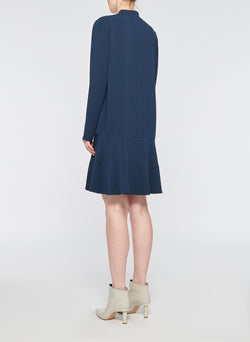 Savanna Crepe Tie Neck Dress Navy-3