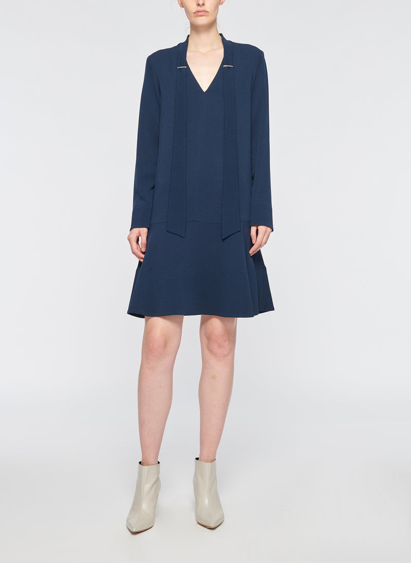 Savanna Crepe Tie Neck Dress Navy-4