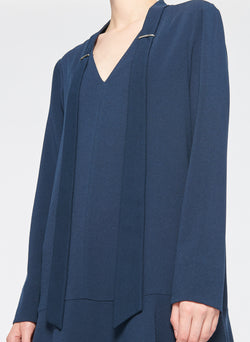 Savanna Crepe Tie Neck Dress Navy-5
