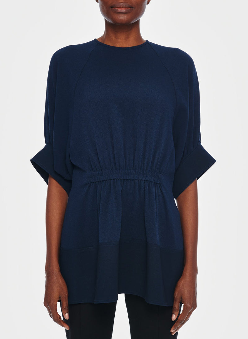 Savanna Crepe Paneled Shirred Top Navy-7