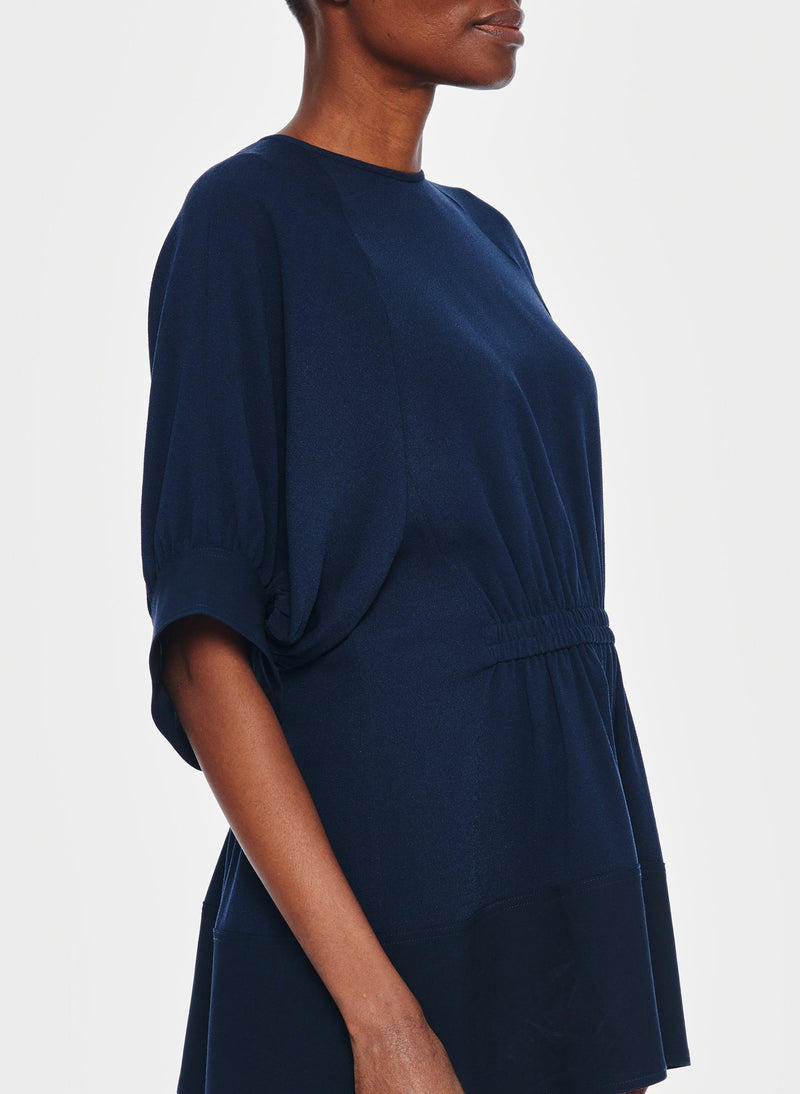 Savanna Crepe Paneled Shirred Top Navy-8