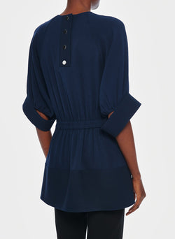 Savanna Crepe Paneled Shirred Top Navy-9