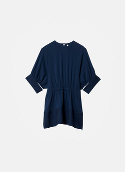 Savanna Crepe Paneled Shirred Top Navy-11