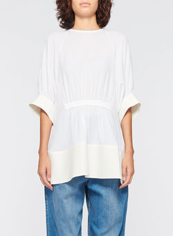 Savanna Crepe Paneled Shirred Top White-1