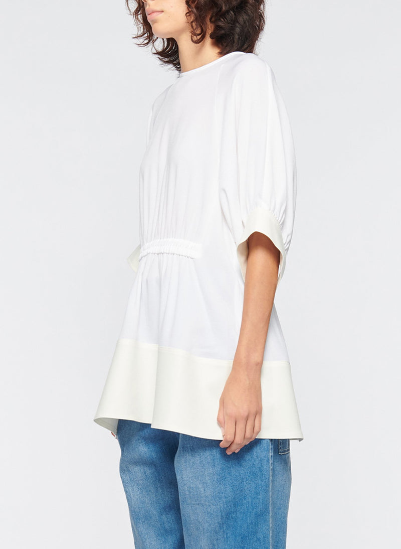 Savanna Crepe Paneled Shirred Top White-2