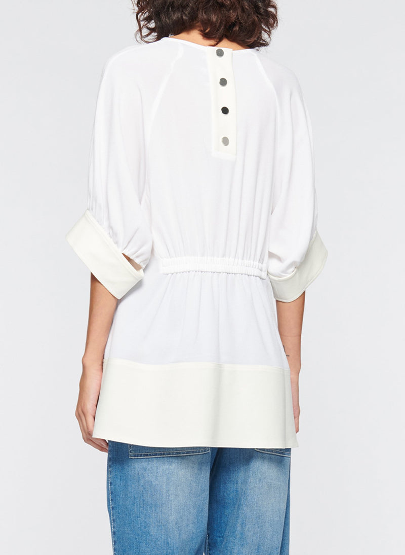Savanna Crepe Paneled Shirred Top White-3