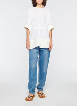Savanna Crepe Paneled Shirred Top White-4