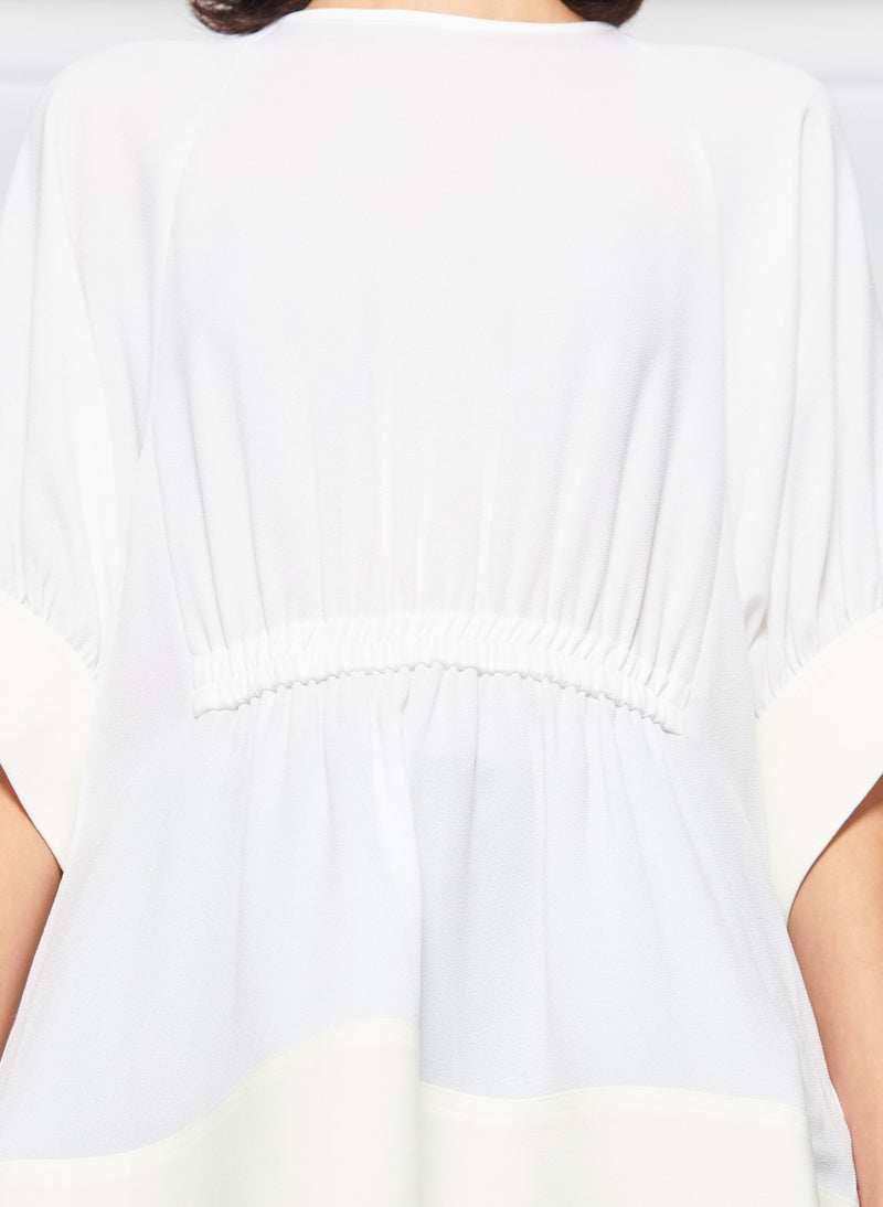 Savanna Crepe Paneled Shirred Top White-5