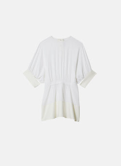 Savanna Crepe Paneled Shirred Top White-6