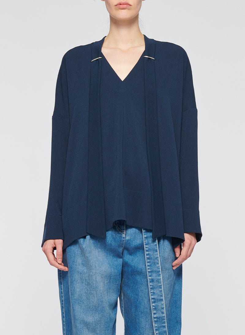Savanna Crepe Tie Neck Top Navy-1