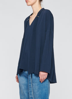 Savanna Crepe Tie Neck Top Navy-2