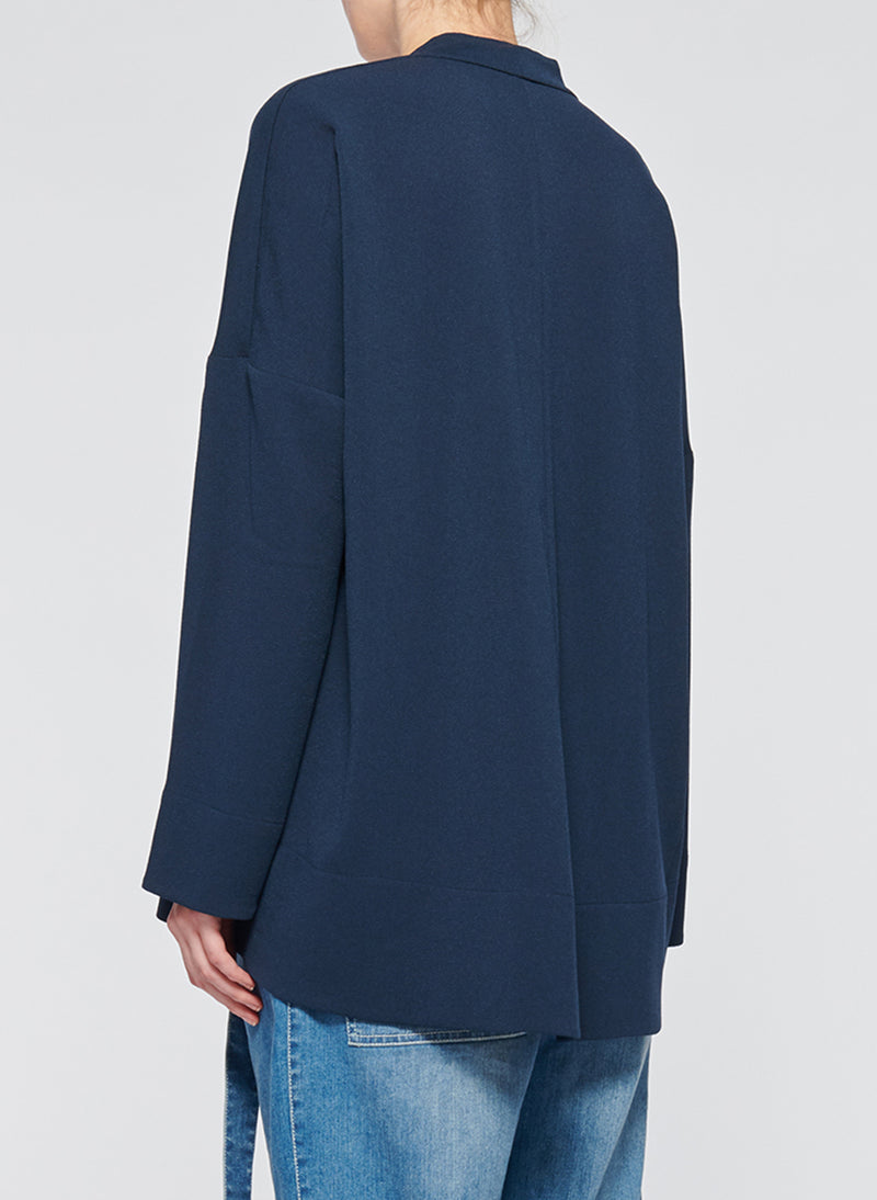 Savanna Crepe Tie Neck Top Navy-3