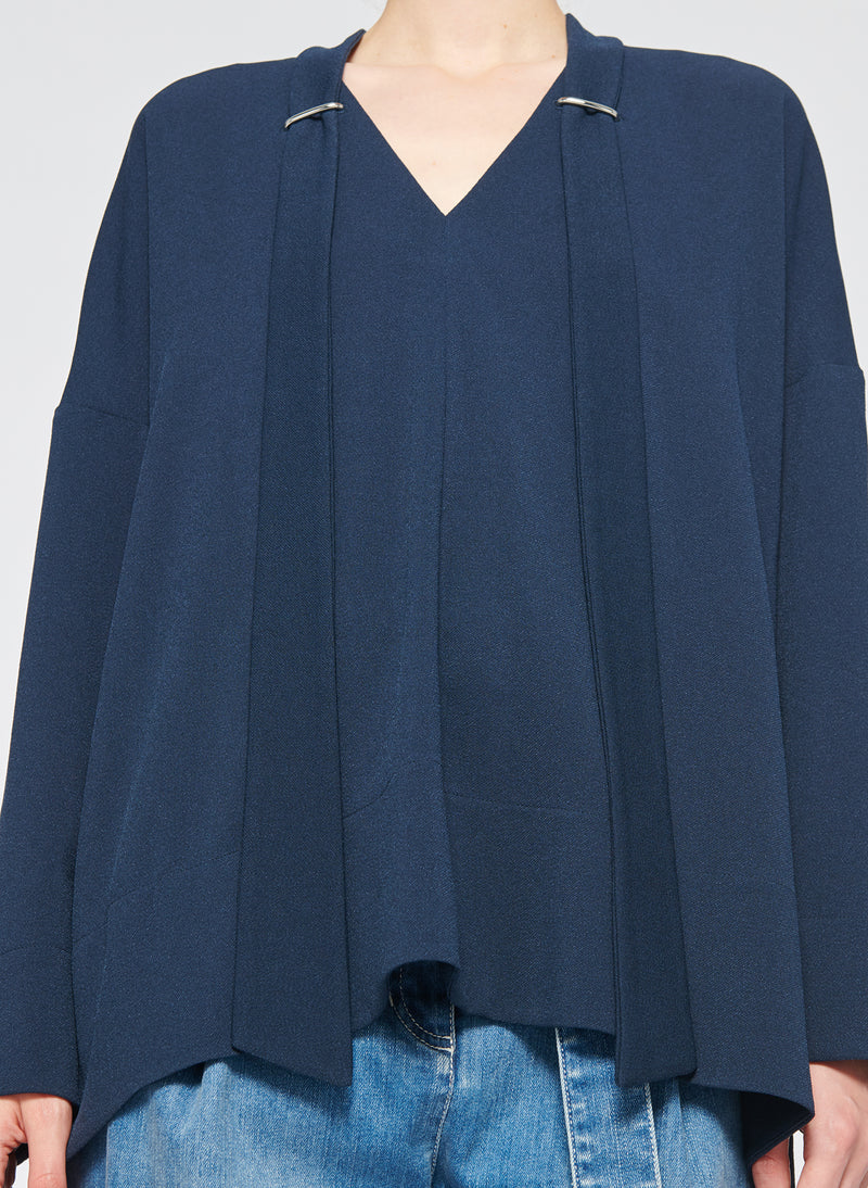 Savanna Crepe Tie Neck Top Navy-5