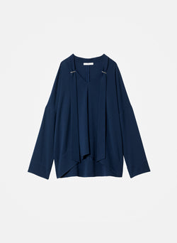 Savanna Crepe Tie Neck Top Navy-7