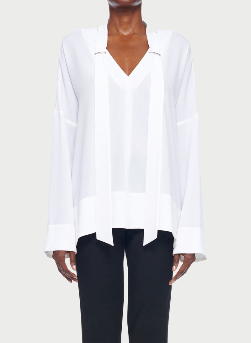 Savanna Crepe Tie Neck Top White-9