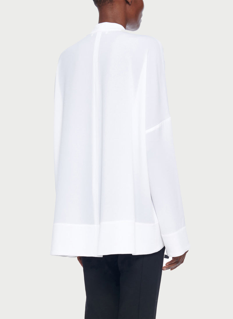 Savanna Crepe Tie Neck Top White-10