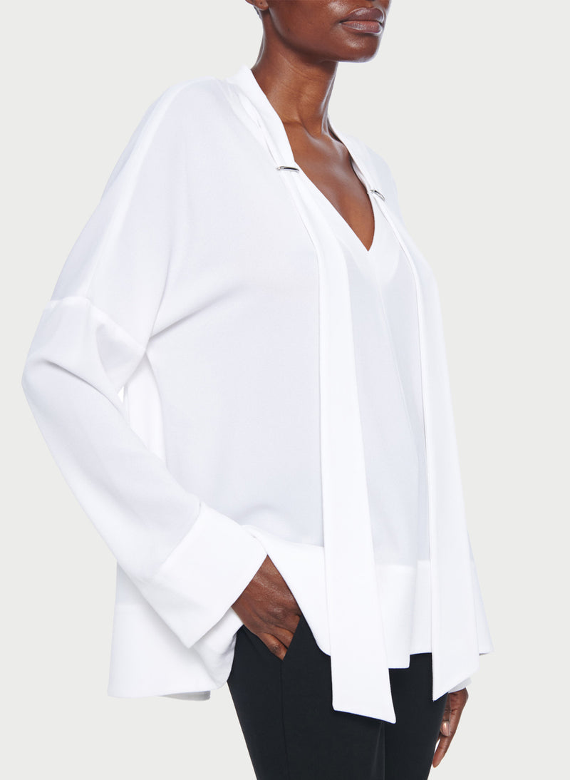 Savanna Crepe Tie Neck Top White-12