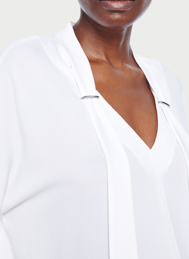 Savanna Crepe Tie Neck Top White-13