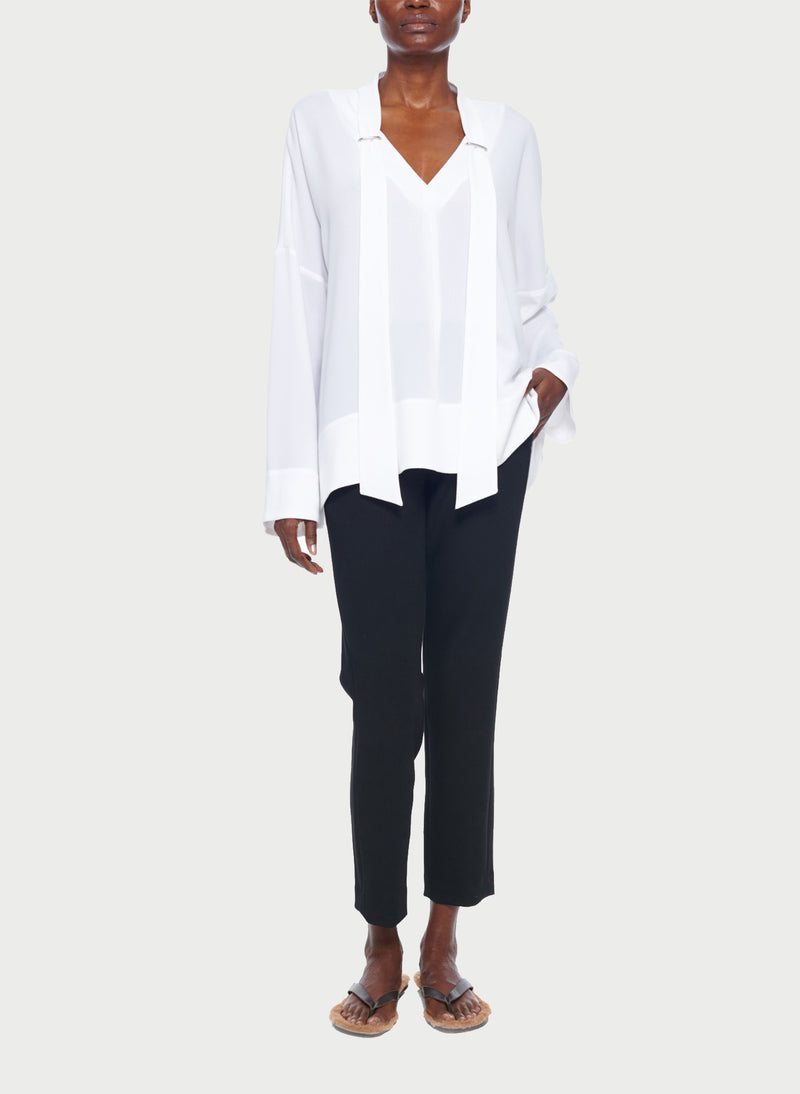 Savanna Crepe Tie Neck Top White-14
