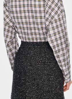 Recycled Tweed High Waisted Mini Skirt Black Multi-2