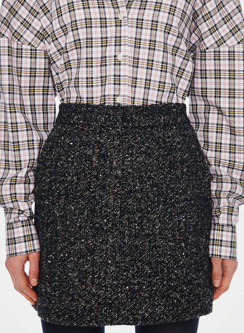 Recycled Tweed High Waisted Mini Skirt Black Multi-1