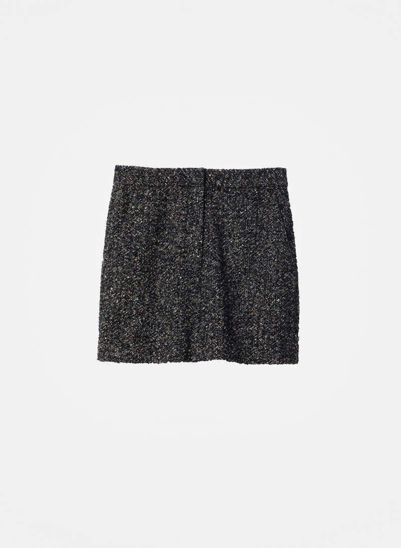 Recycled Tweed High Waisted Mini Skirt Black Multi-6