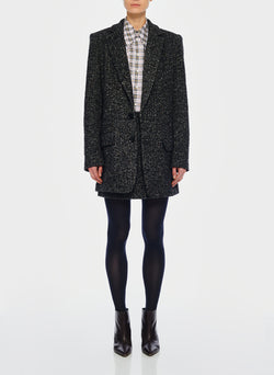 Recycled Tweed Long Blazer Black Multi-1