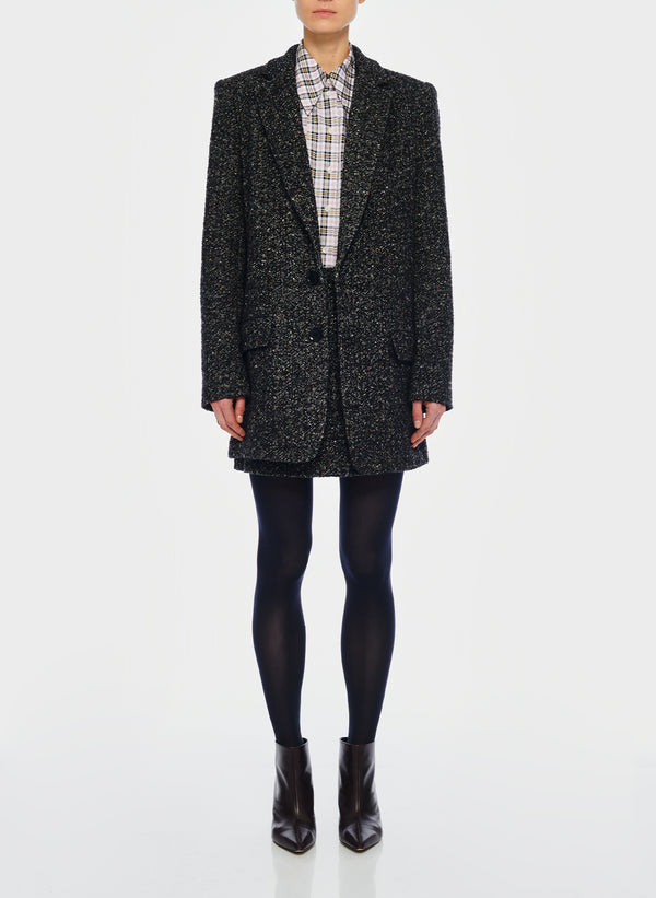 티비 트위드 롱 셋업 자켓 Tibi Recycled Tweed Long Blazer,Black Multi