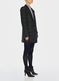 Recycled Tweed Long Blazer Black Multi-2