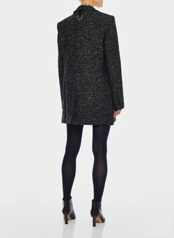 Recycled Tweed Long Blazer Black Multi-3