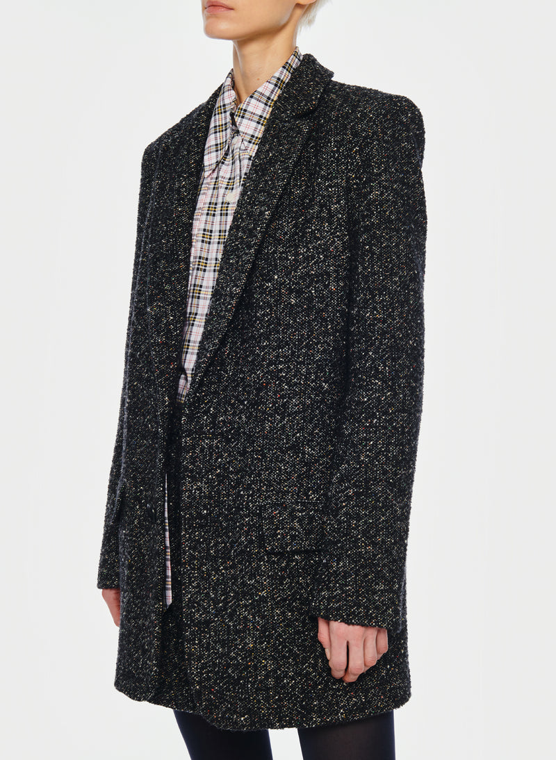 Recycled Tweed Long Blazer Black Multi-5