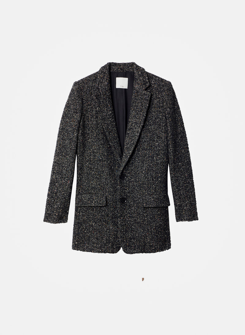 Recycled Tweed Long Blazer Black Multi-7