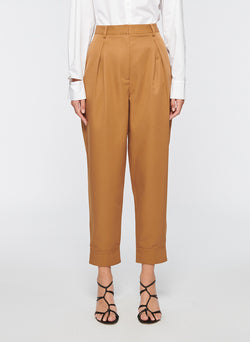Recycled Techy Twill Pleated Pant Camel-1