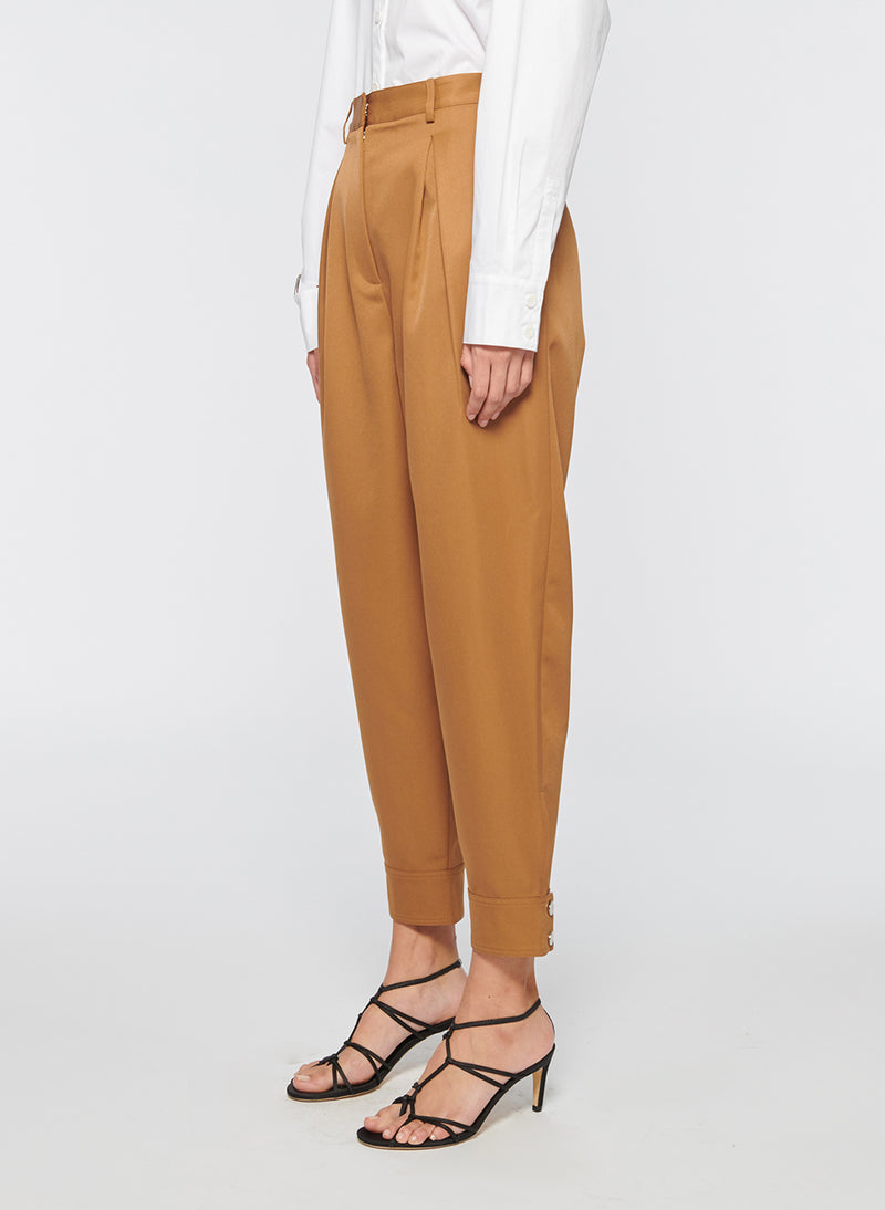 Recycled Techy Twill Pleated Pant Camel-2
