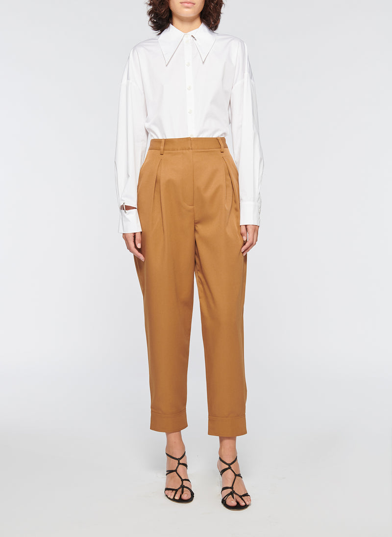 Recycled Techy Twill Pleated Pant Camel-4
