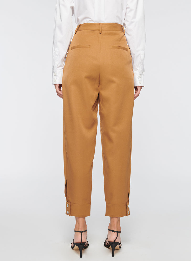 Recycled Techy Twill Pleated Pant Camel-5