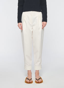 Recycled Techy Twill Pleated Pant Ivory-9