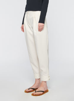 Recycled Techy Twill Pleated Pant Ivory-10