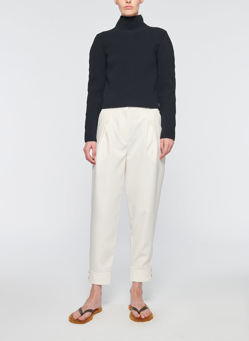 Recycled Techy Twill Pleated Pant Ivory-12