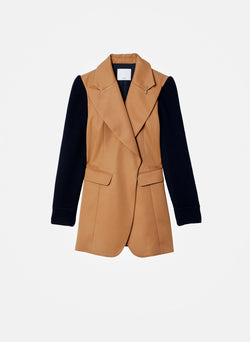 Recycled Techy Twill Knit Sleeve Blazer Camel/Black Multi-7