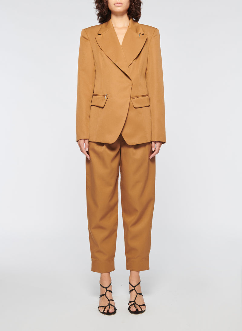 Recycled Techy Twill Peaked Lapel Blazer Camel-1