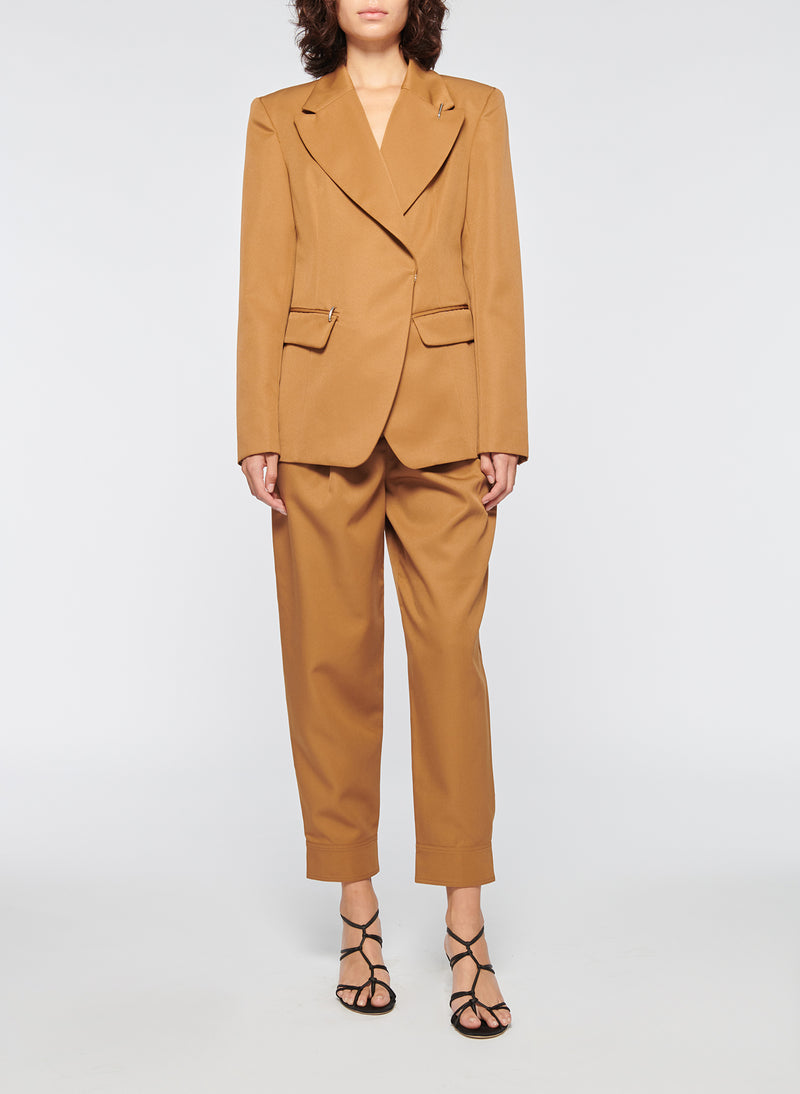 Recycled Techy Twill Peaked Lapel Blazer Camel-4