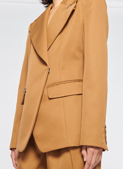 Recycled Techy Twill Peaked Lapel Blazer Camel-5