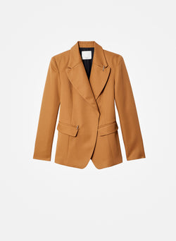 Recycled Techy Twill Peaked Lapel Blazer Camel-7