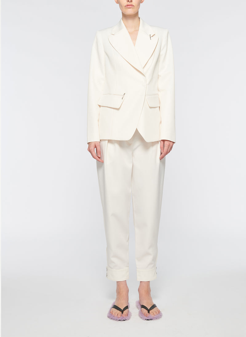 Recycled Techy Twill Peaked Lapel Blazer Ivory-9