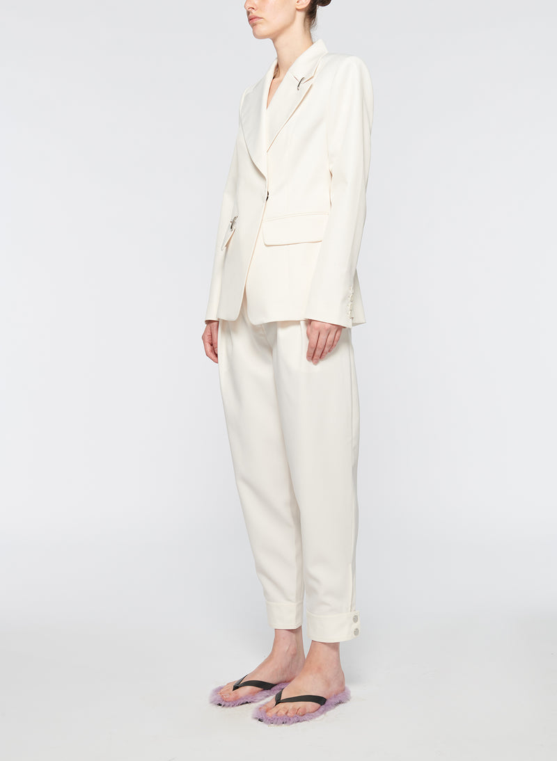 Recycled Techy Twill Peaked Lapel Blazer Ivory-10