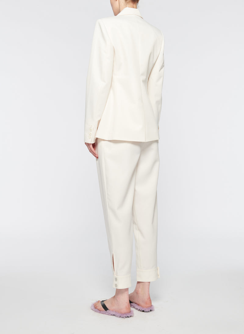 Recycled Techy Twill Peaked Lapel Blazer Ivory-11